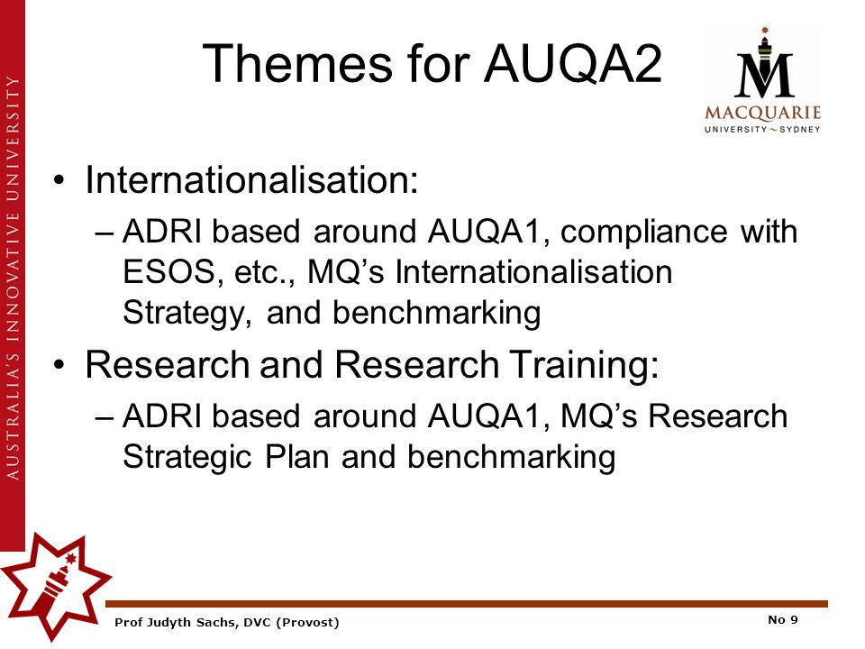 Prof Judyth Sachs, DVC (Provost) No 9 Themes for AUQA2 Internationalisation: –ADRI based around AUQA1, compliance with ESOS, etc., MQ's Internationalisation Strategy, and benchmarking Research and Research Training: –ADRI based around AUQA1, MQ's Research Strategic Plan and benchmarking