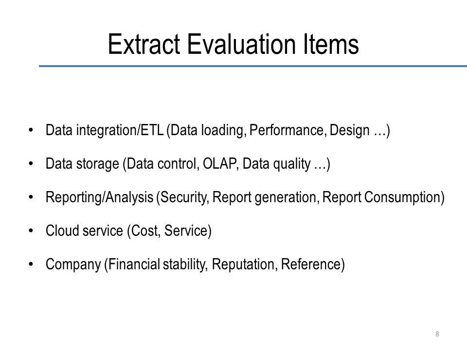 Extract Evaluation Items Data integration/ETL (Data loading, Performance, Design …) Data storage (Data control, OLAP, Data quality …) Reporting/Analys