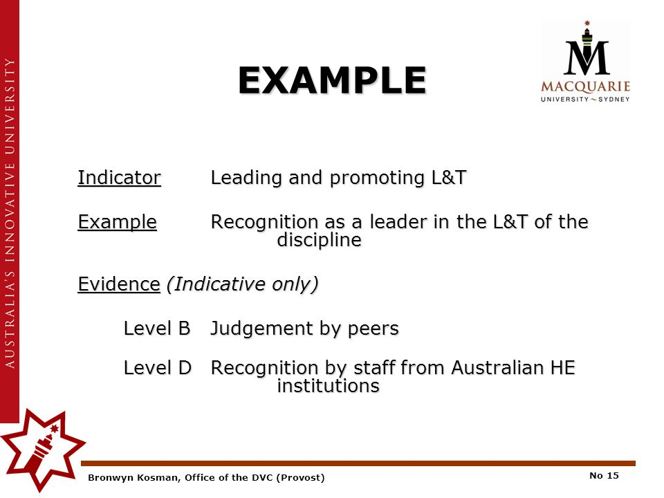 Bronwyn Kosman, Office of the DVC (Provost) No 15 EXAMPLE IndicatorLeading and promoting L&T ExampleRecognition as a leader in the L&T of the discipline Evidence (Indicative only) Level BJudgement by peers Level DRecognition by staff from Australian HE institutions