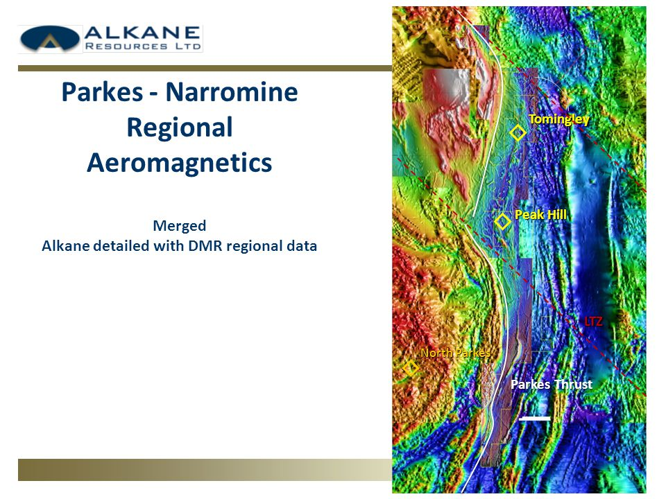 Parkes - Narromine Regional Aeromagnetics Merged Alkane detailed with DMR regional data Tomingley Peak Hill LTZ Parkes Thrust North Parkes