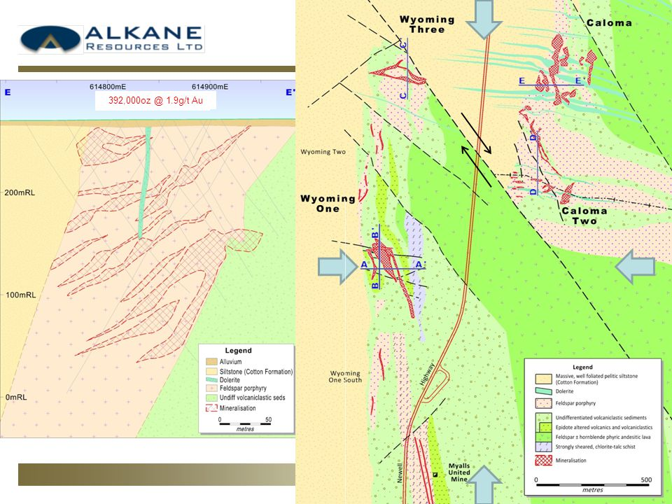 Local Geology Ore zones hosted within or along margins of feldspar phyric monzodiorite sills Geology concealed by variably thick magnetic overburden Deep weathering profile East-west compression followed by dextral wrenching Extensional post-mineralisation dyking 2.1g/t Au Resource to be calculated 1.9g/t Au 1.9g/t Au