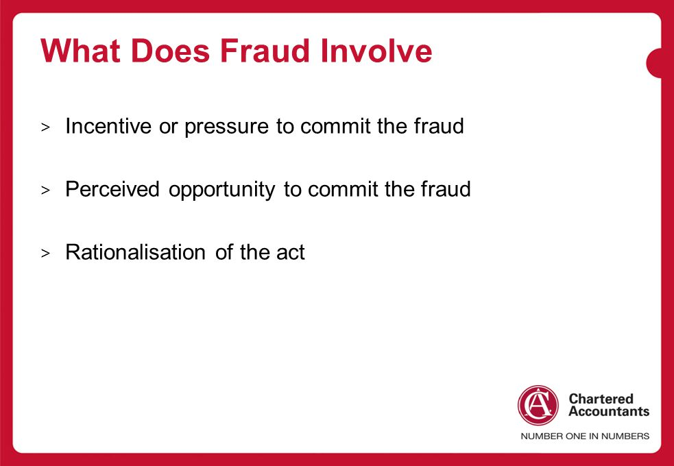 What Does Fraud Involve > Incentive or pressure to commit the fraud > Perceived opportunity to commit the fraud > Rationalisation of the act