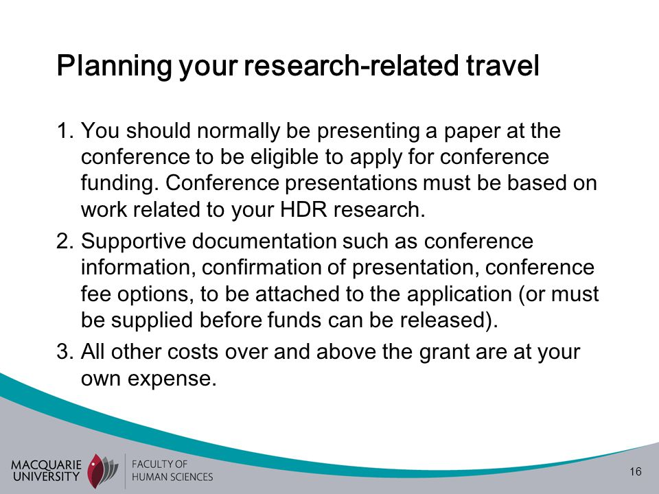 16 Planning your research-related travel 1.