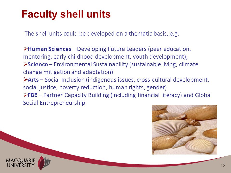 15 The shell units could be developed on a thematic basis, e.g.