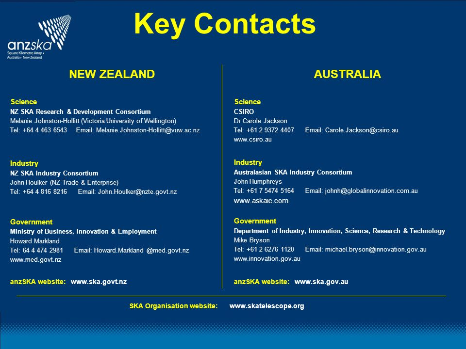 Key Contacts NEW ZEALAND Science NZ SKA Research & Development Consortium Melanie Johnston-Hollitt (Victoria University of Wellington) Tel: +64 4 463