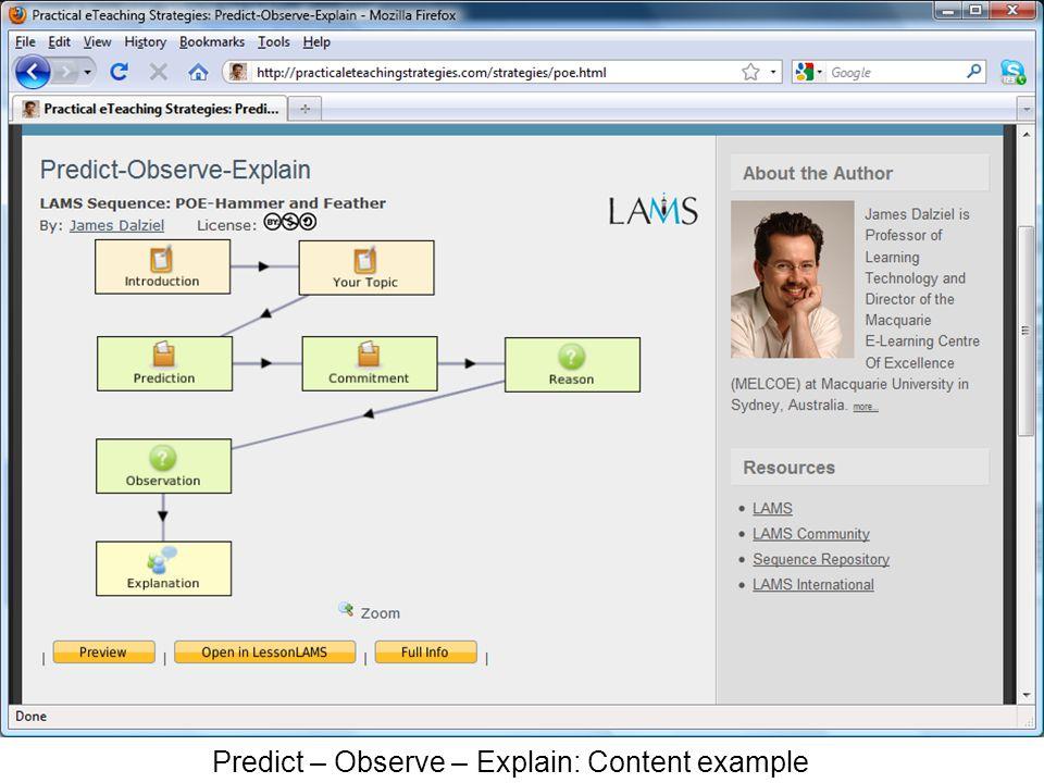 Predict – Observe – Explain: Content example