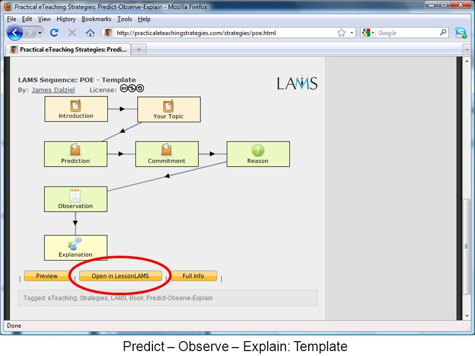 Predict – Observe – Explain: Template