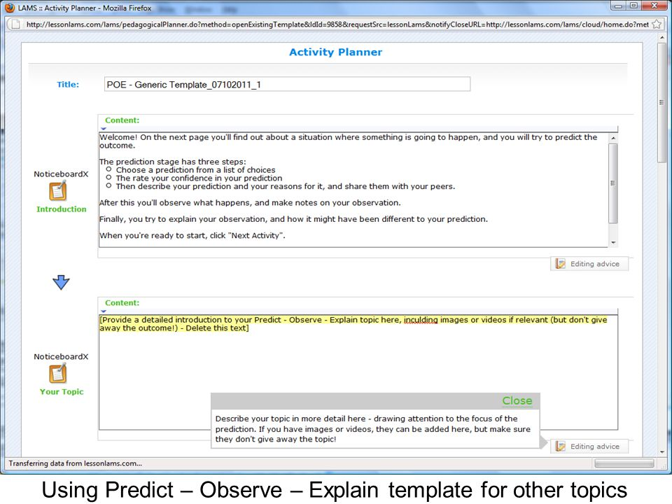 Using Predict – Observe – Explain template for other topics