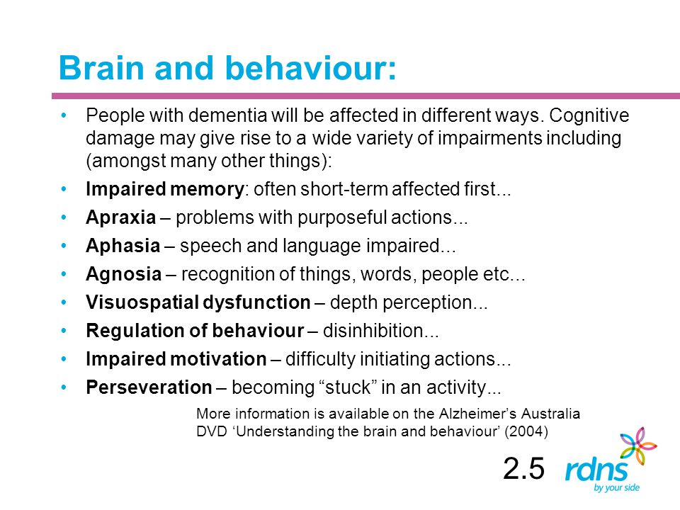 Brain and behaviour: People with dementia will be affected in different ways.