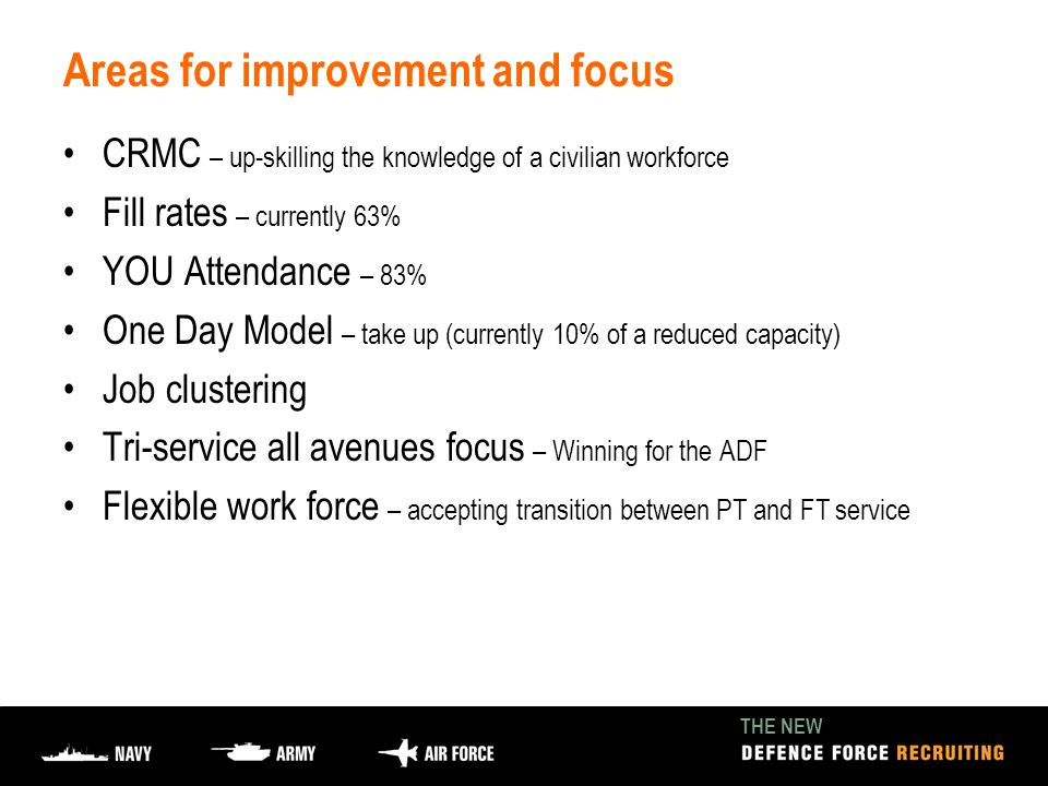 THE NEW Areas for improvement and focus CRMC – up-skilling the knowledge of a civilian workforce Fill rates – currently 63% YOU Attendance – 83% One Day Model – take up (currently 10% of a reduced capacity) Job clustering Tri-service all avenues focus – Winning for the ADF Flexible work force – accepting transition between PT and FT service