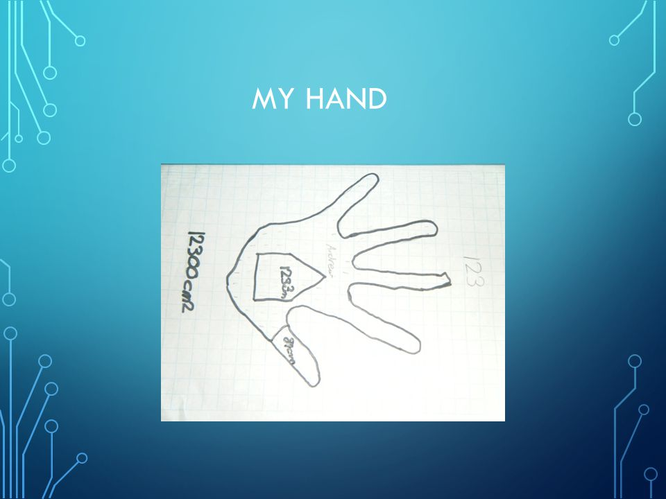 SKIN ON MY BODY I have 12,300cm2 on my body I have 123cm2 on my hand Perimeter of my hand is 89cm, 890mm