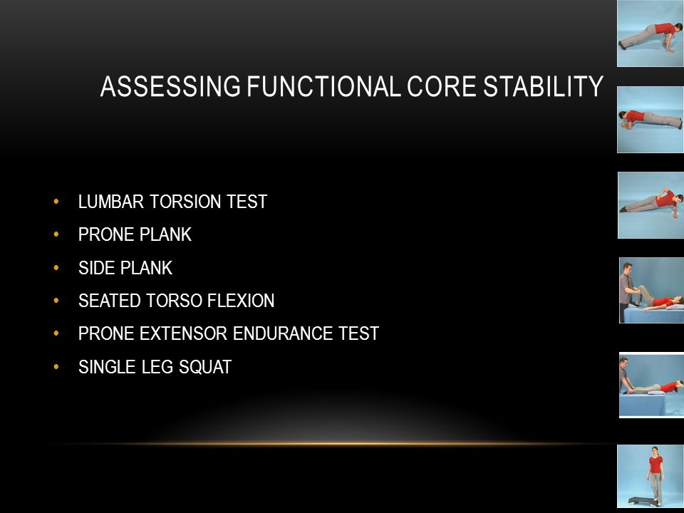 ASSESSING FUNCTIONAL CORE STABILITY LUMBAR TORSION TEST PRONE PLANK SIDE PLANK SEATED TORSO FLEXION PRONE EXTENSOR ENDURANCE TEST SINGLE LEG SQUAT