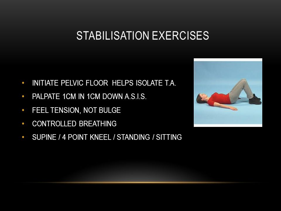 STABILISATION EXERCISES INITIATE PELVIC FLOOR HELPS ISOLATE T.A.