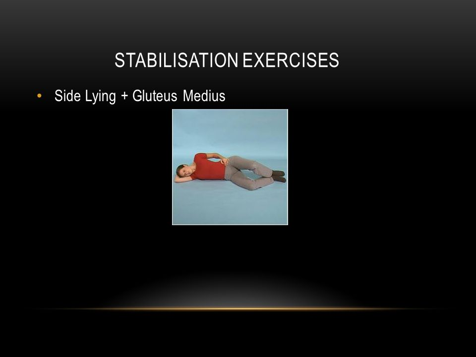 STABILISATION EXERCISES Side Lying + Gluteus Medius