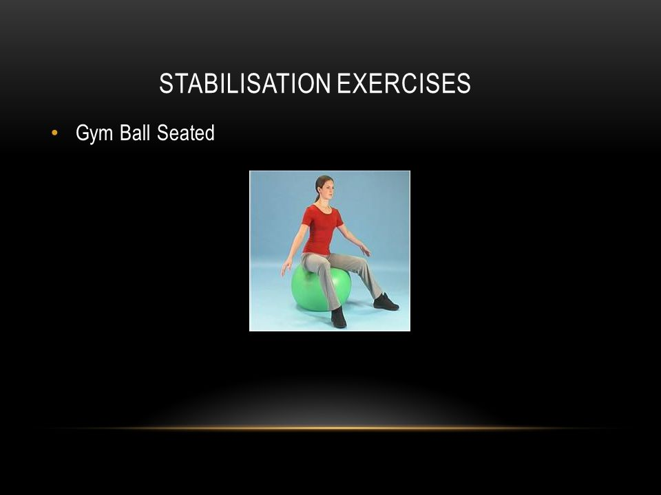 STABILISATION EXERCISES Gym Ball Seated