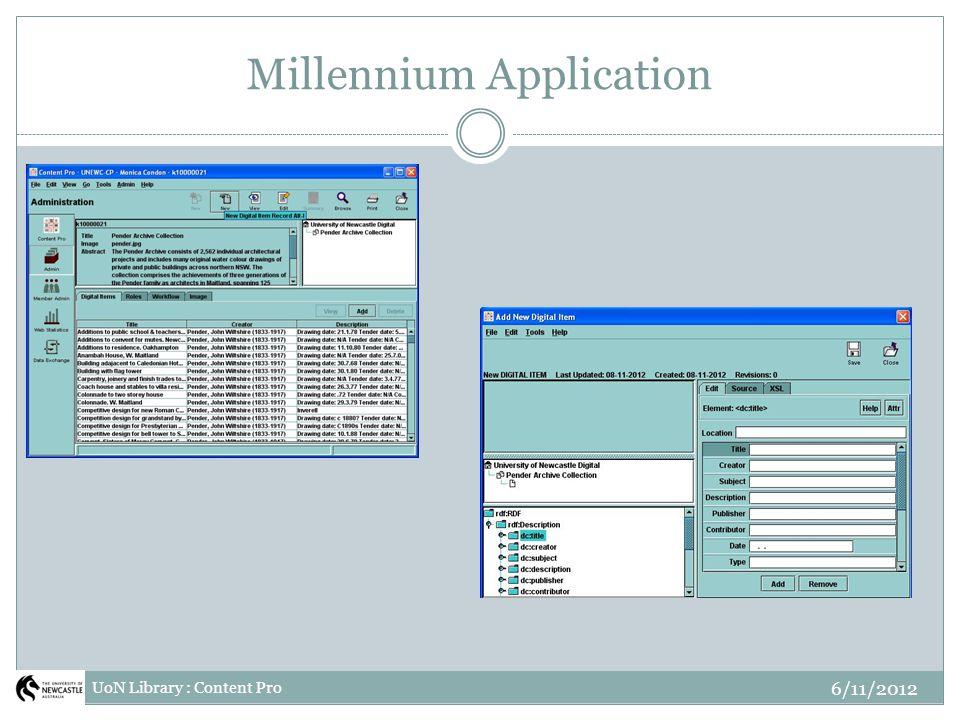 Millennium Application UoN Library : Content Pro 6/11/2012