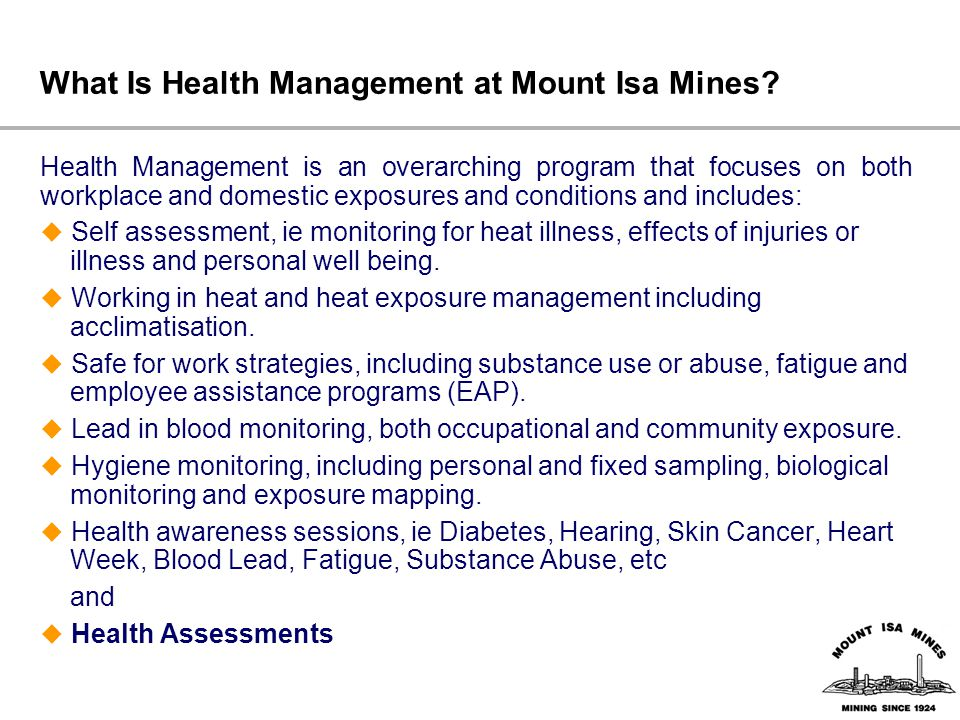 What Is Health Management at Mount Isa Mines.