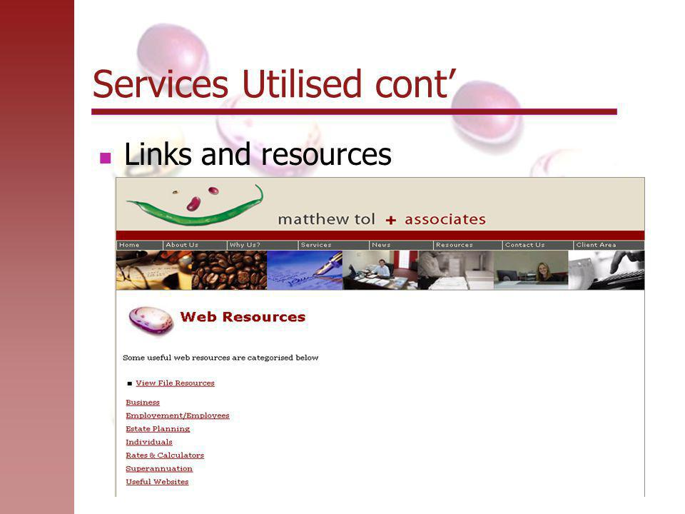 Services Utilised cont' Links and resources