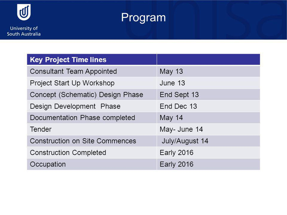 Program Key Project Time lines Consultant Team AppointedMay 13 Project Start Up WorkshopJune 13 Concept (Schematic) Design PhaseEnd Sept 13 Design Development PhaseEnd Dec 13 Documentation Phase completedMay 14 TenderMay- June 14 Construction on Site Commences July/August 14 Construction CompletedEarly 2016 OccupationEarly 2016