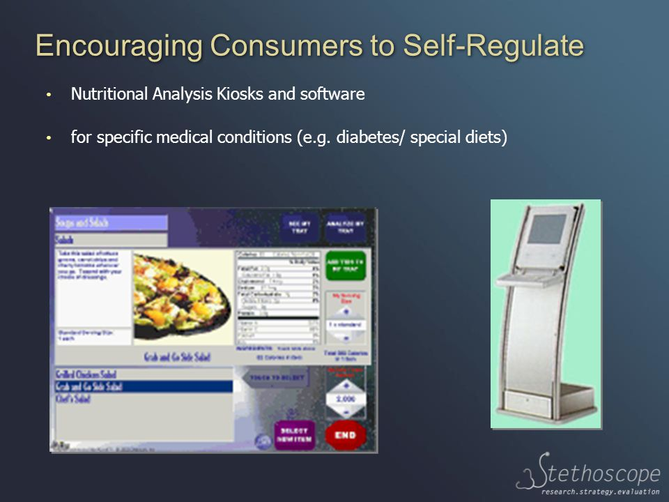 Encouraging Consumers to Self-Regulate Nutritional Analysis Kiosks and software for specific medical conditions (e.g.