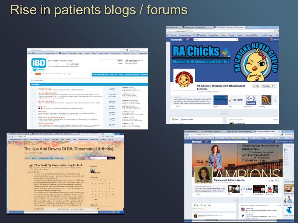 Rise in patients blogs / forums