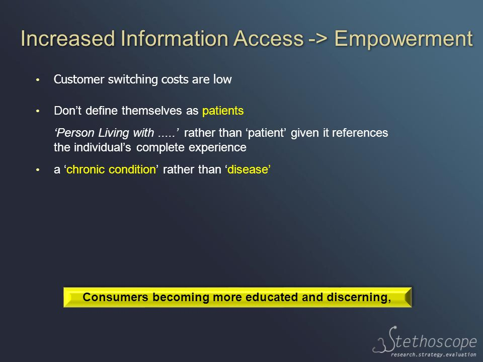 Increased Information Access -> Empowerment Customer switching costs are low Don't define themselves as patients 'Person Living with.....' rather than 'patient' given it references the individual's complete experience a 'chronic condition' rather than 'disease' Consumers becoming more educated and discerning,
