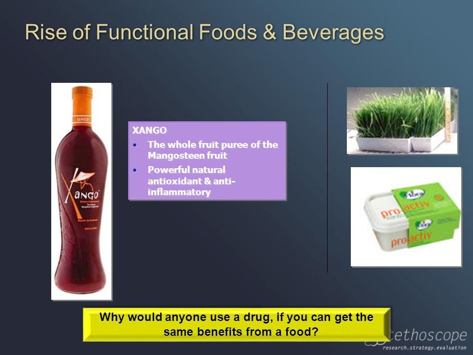 Rise of Functional Foods & Beverages XANGO The whole fruit puree of the Mangosteen fruit Powerful natural antioxidant & anti- inflammatory XANGO The whole fruit puree of the Mangosteen fruit Powerful natural antioxidant & anti- inflammatory Why would anyone use a drug, if you can get the same benefits from a food