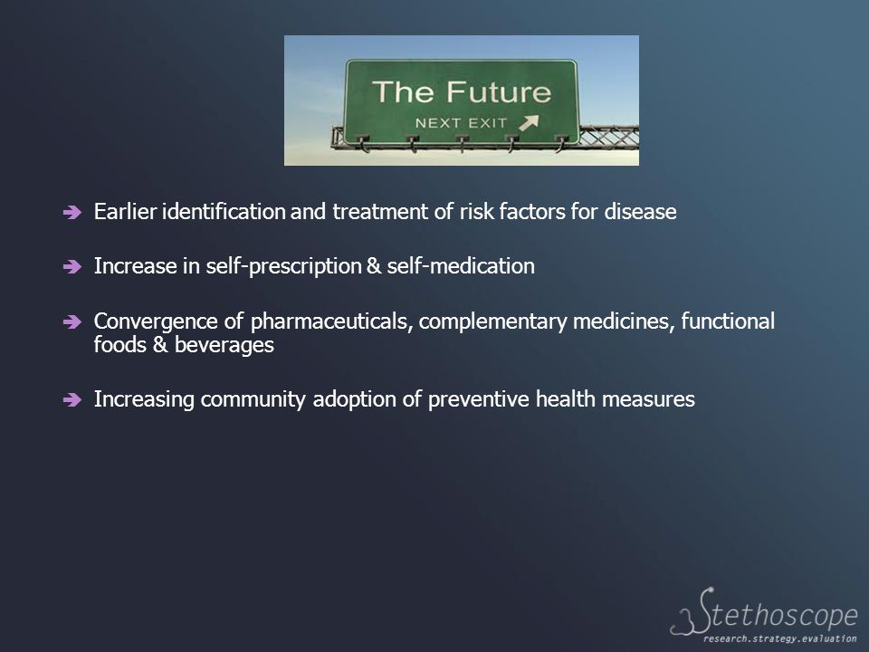  Earlier identification and treatment of risk factors for disease  Increase in self-prescription & self-medication  Convergence of pharmaceuticals, complementary medicines, functional foods & beverages  Increasing community adoption of preventive health measures