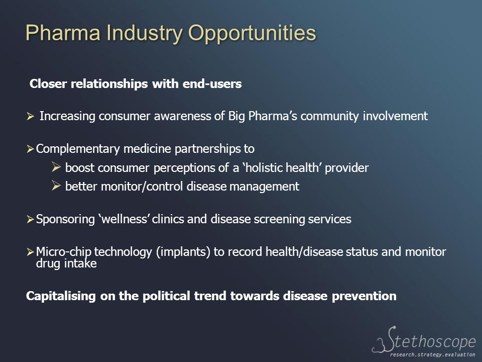 Pharma Industry Opportunities Closer relationships with end-users  Increasing consumer awareness of Big Pharma's community involvement  Complementary medicine partnerships to  boost consumer perceptions of a 'holistic health' provider  better monitor/control disease management  Sponsoring 'wellness' clinics and disease screening services  Micro-chip technology (implants) to record health/disease status and monitor drug intake Capitalising on the political trend towards disease prevention