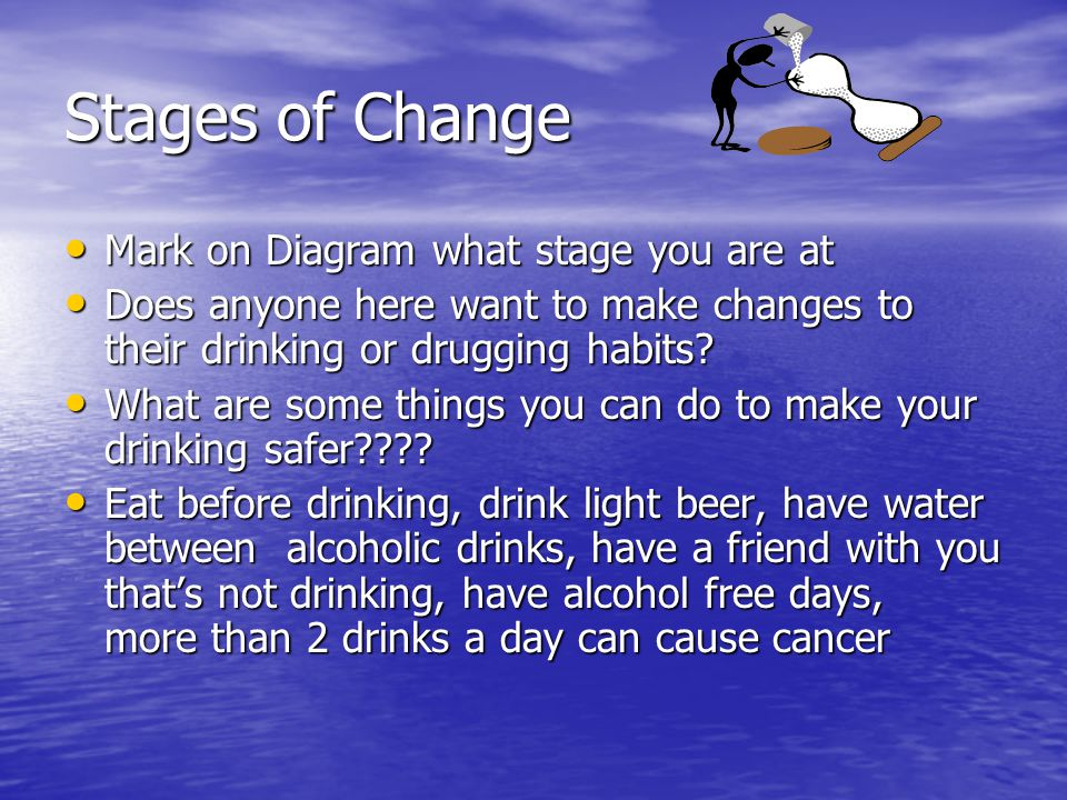 Made Changes- now what Decision Maker- Has made a decision what to do Decision Maker- Has made a decision what to do Actioner- Has started to do something about substance use Actioner- Has started to do something about substance use Maintainer- Had done what they set out to do and is keeping it going Maintainer- Had done what they set out to do and is keeping it going Relapse- can happen at any stage and you may need to start at beginning Relapse- can happen at any stage and you may need to start at beginning
