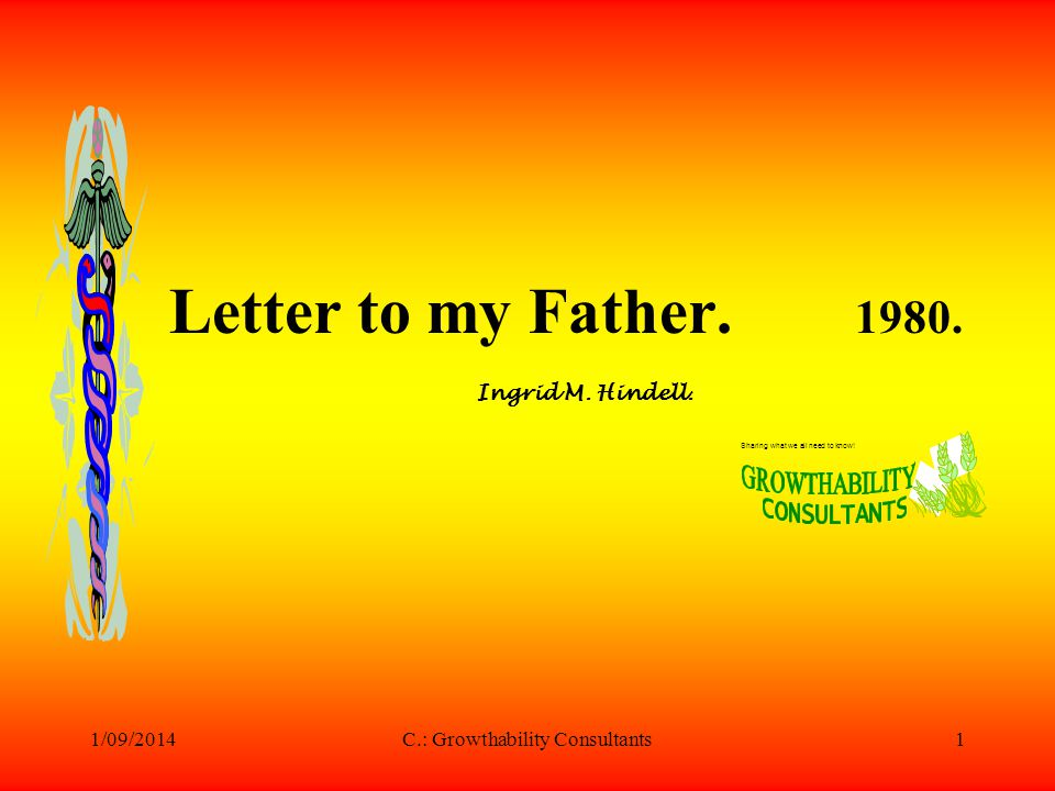 1/09/2014C.: Growthability Consultants2 Dear Dad, This is the second letter I am writing to you in three months and again it s because I want to tell you something I find hard to put into words.