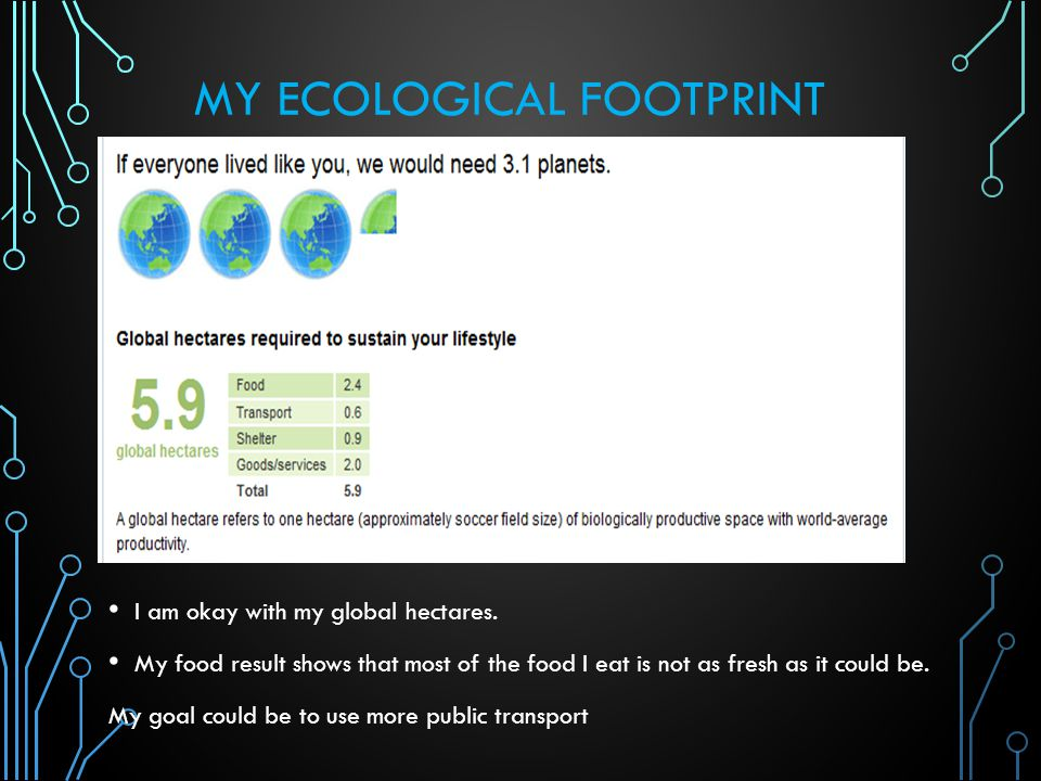 MY ECOLOGICAL FOOTPRINT I am okay with my global hectares.