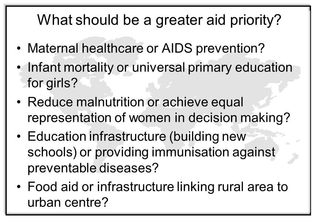 What should be a greater aid priority.Maternal healthcare or AIDS prevention.