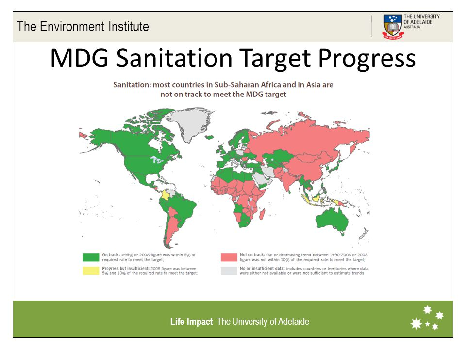 The Environment Institute Life Impact The University of Adelaide MDG Sanitation Target Progress