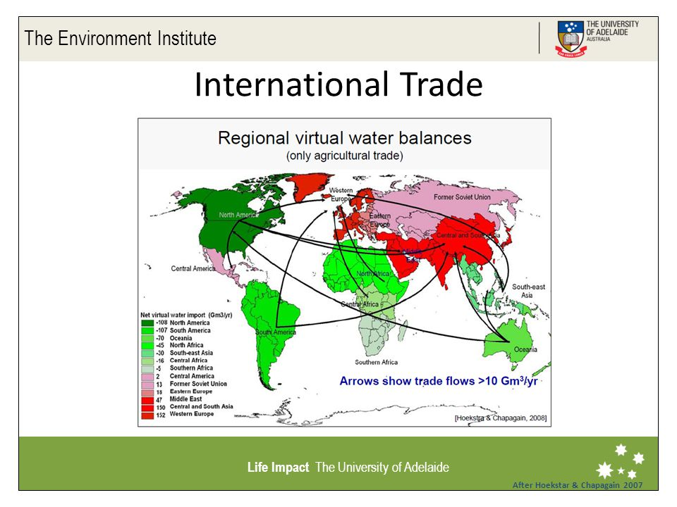 The Environment Institute Life Impact The University of Adelaide International Trade After Hoekstar & Chapagain 2007