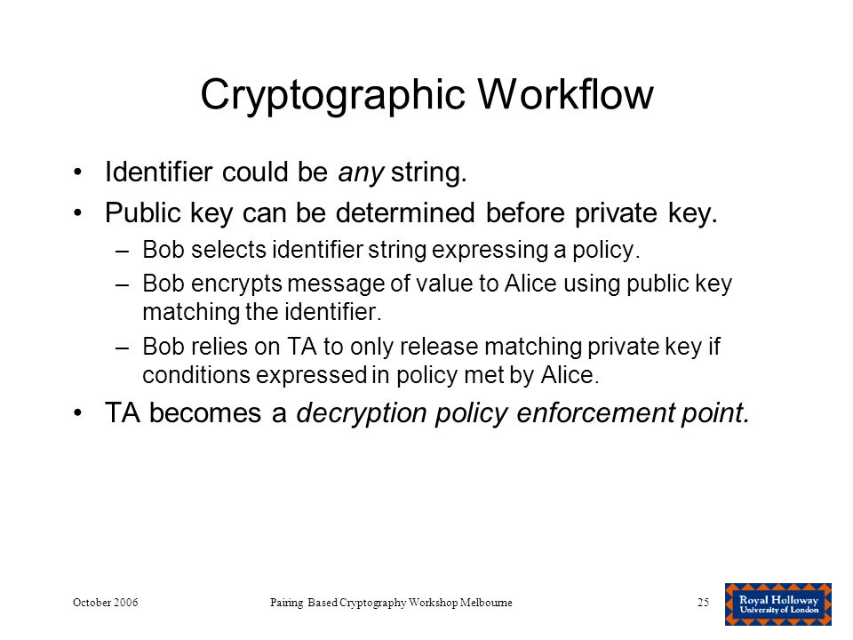 October 2006Pairing Based Cryptography Workshop Melbourne25 Cryptographic Workflow Identifier could be any string.