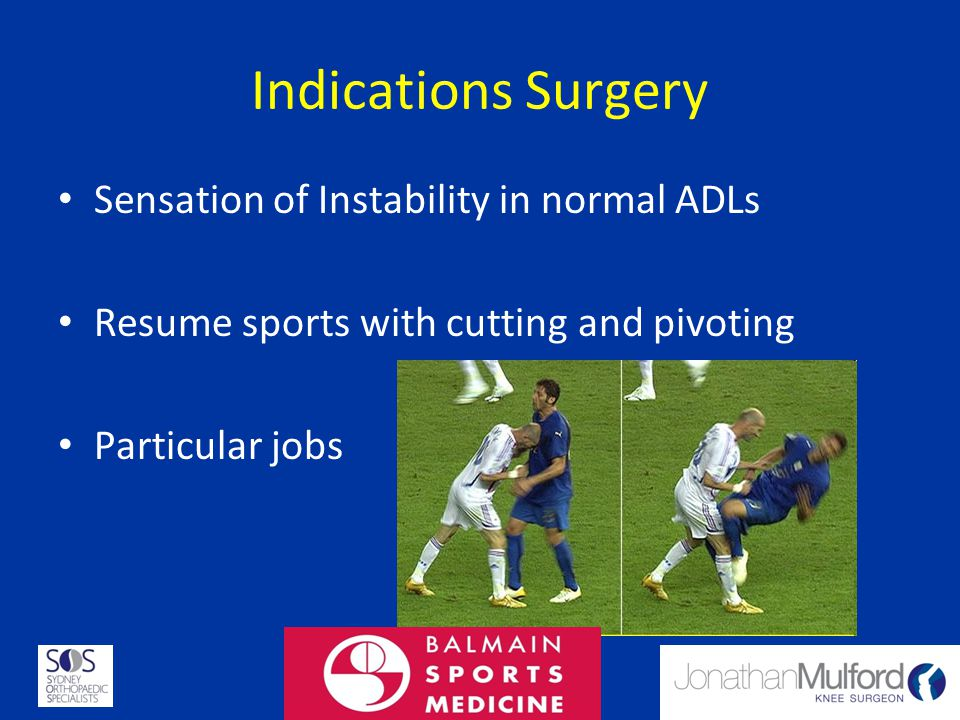 Indications Surgery Sensation of Instability in normal ADLs Resume sports with cutting and pivoting Particular jobs