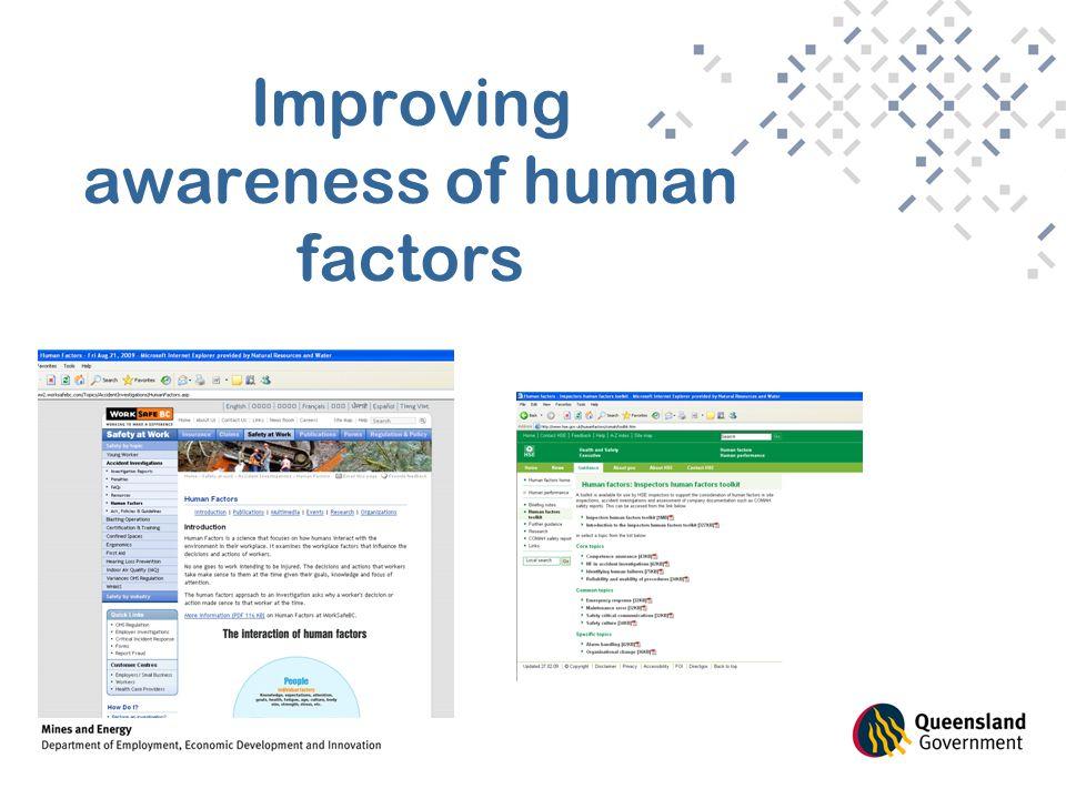 Improving awareness of human factors