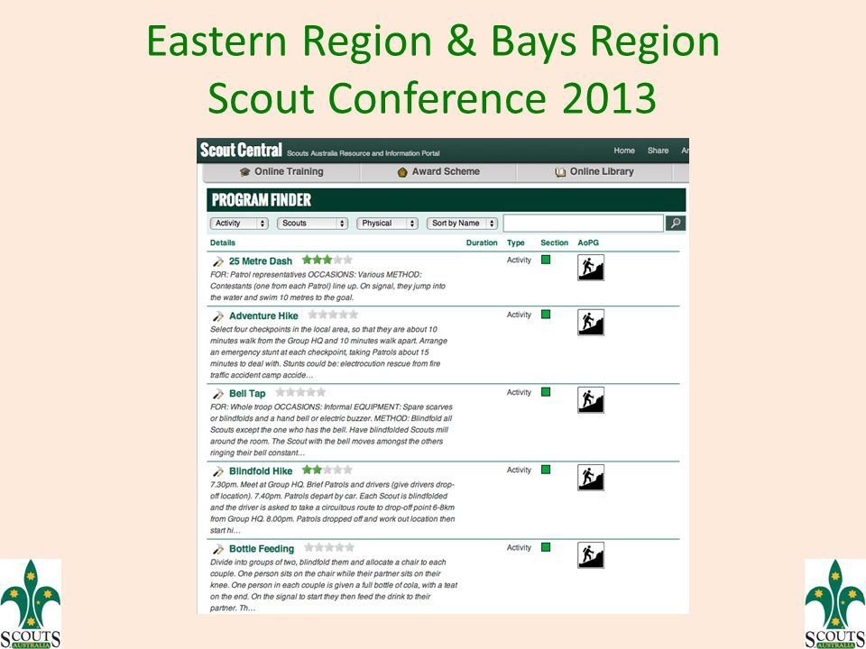 Eastern Region & Bays Region Scout Conference 2013