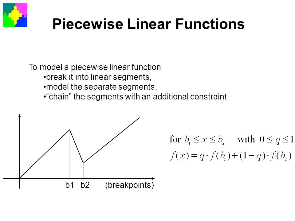 """Piecewise Linear Functions To model a piecewise linear function break it into linear segments, model the separate segments, """"chain"""" the segments with"""
