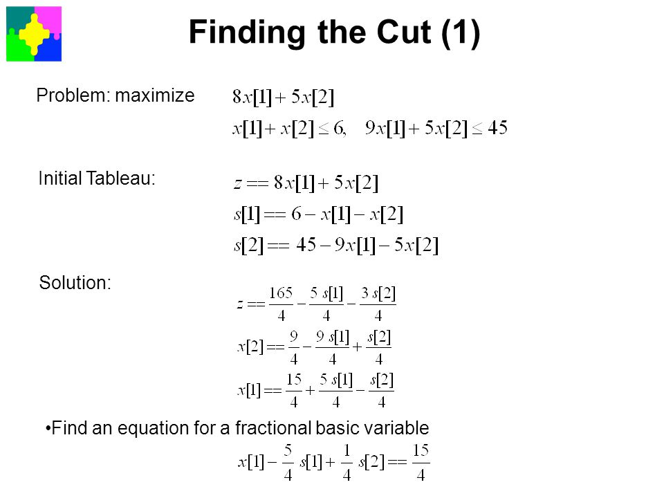 Finding the Cut (1) Problem: maximize Initial Tableau: Solution: Find an equation for a fractional basic variable