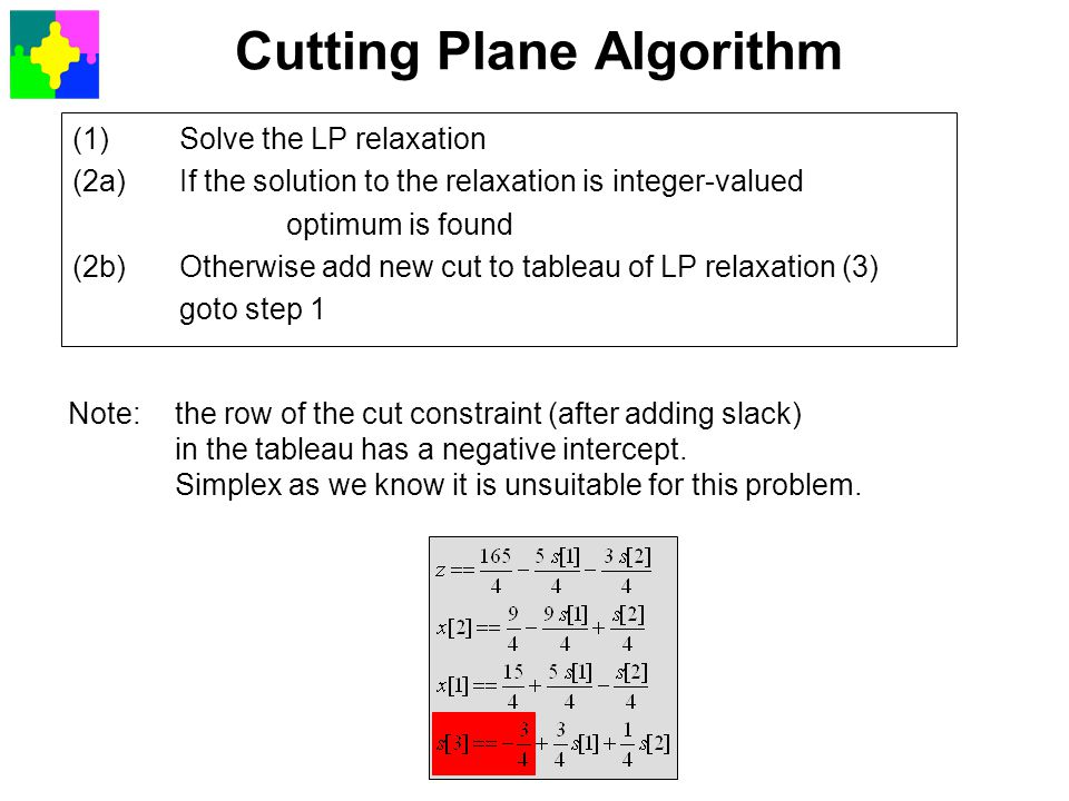 Cutting Plane Algorithm (1)Solve the LP relaxation (2a)If the solution to the relaxation is integer-valued optimum is found (2b)Otherwise add new cut