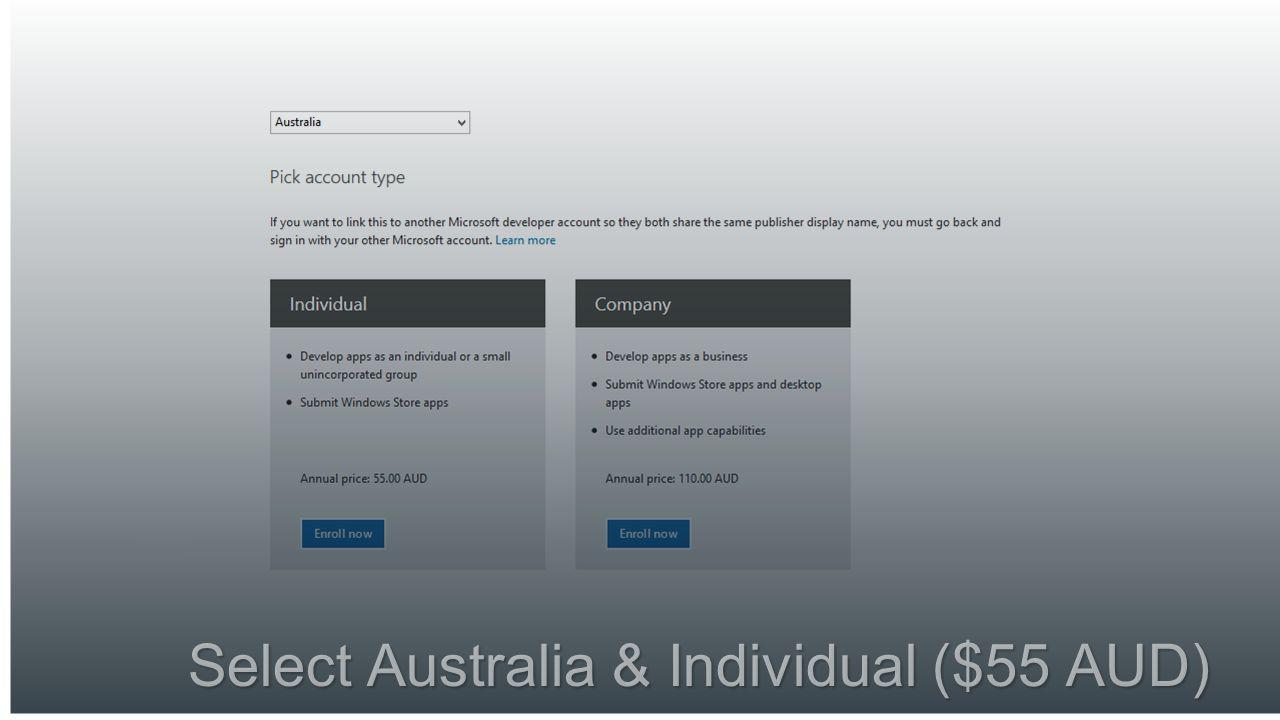 Select Australia & Individual ($55 AUD)
