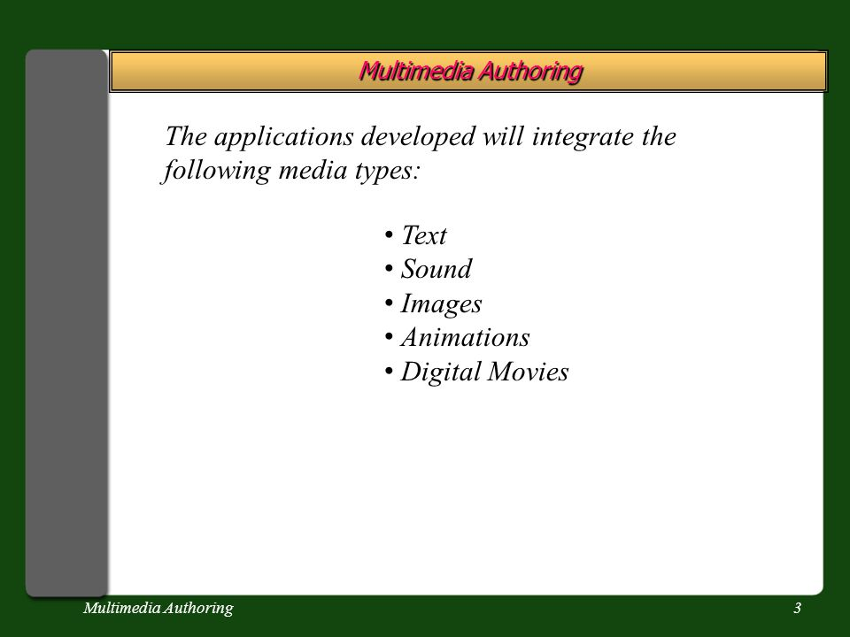 Multimedia Authoring3 The applications developed will integrate the following media types: Text Sound Images Animations Digital Movies
