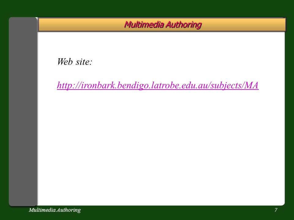 Multimedia Authoring7 Web site: