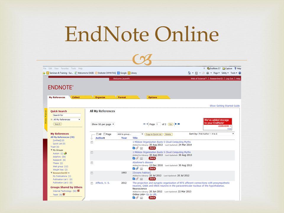  EndNote Online