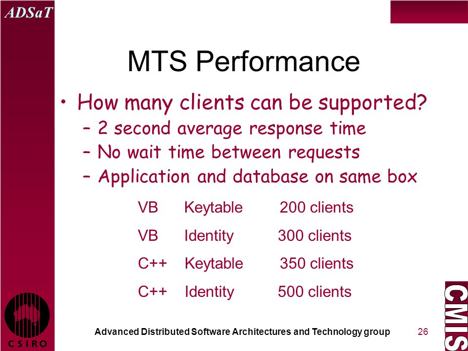 Advanced Distributed Software Architectures and Technology group ADSaT 26 MTS Performance How many clients can be supported? –2 second average respons