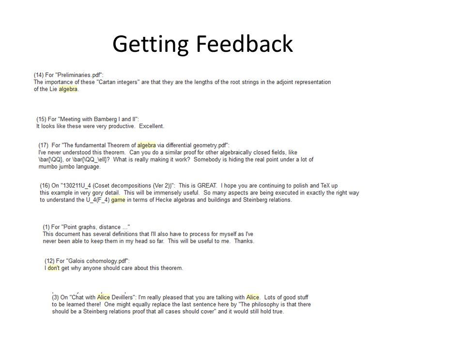 Getting Feedback