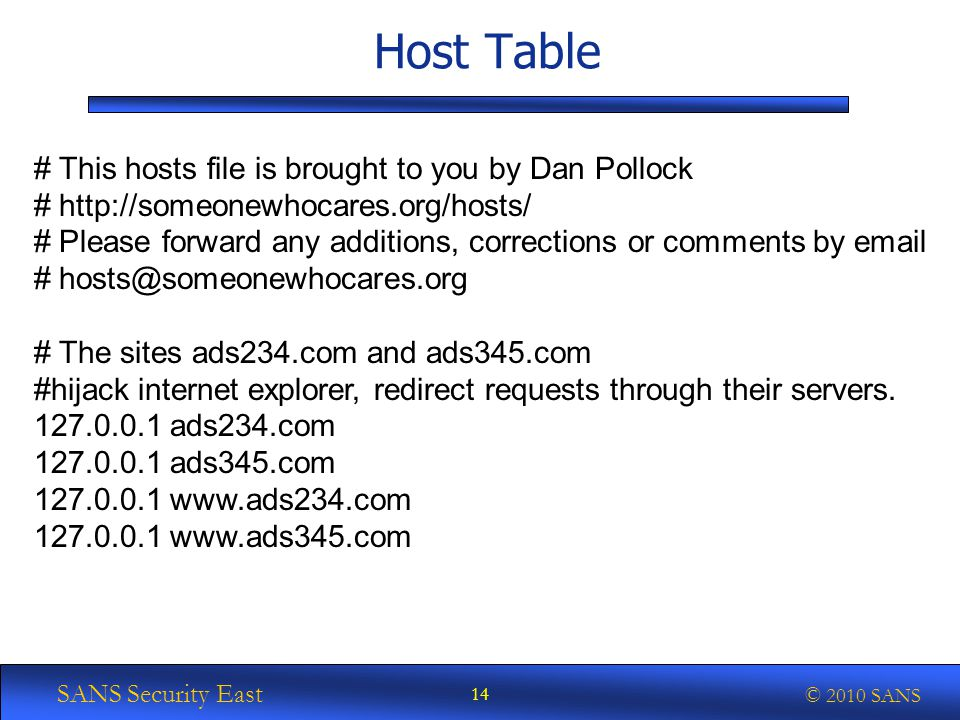 SANS Security East © 2010 SANS Host Table # This hosts file is brought to you by Dan Pollock # http://someonewhocares.org/hosts/ # Please forward any additions, corrections or comments by email # hosts@someonewhocares.org # The sites ads234.com and ads345.com #hijack internet explorer, redirect requests through their servers.