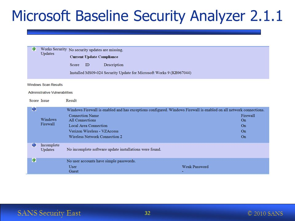 SANS Security East © 2010 SANS Microsoft Baseline Security Analyzer 2.1.1 32